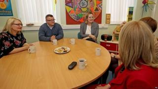 Amber Rudd during a visit to Barnardo's Safer Futures sexual abuse service in Salford