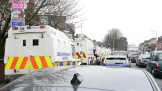 PSNI Landrover's on the Falls Road in Belfast