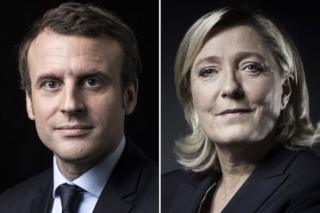 A combination of picture made on April 23, 2017 shows French presidential election candidate for the En Marche ! movement Emmanuel Macron and French presidential election candidate for the far-right Front National (FN) party Marine Le Pen posing in Paris.