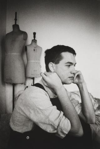 John Maybury sits looking pensive, 1982-1983