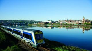 Train departing Derry