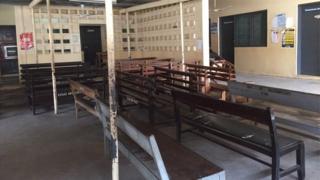 Empty benches at Ghana hospital