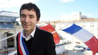 French Front National (FN) far right party mayor of Beaucaire, Julien Sanchez,