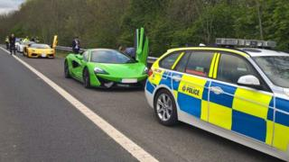 Supercars on the M1