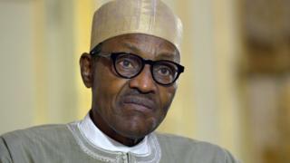 File picture taken on September 16, 2015 in Paris shows Nigerian President Muhammadu Buhari speaking to the press.