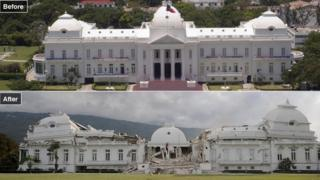 Before and after pictures show the destruction caused to the National Palace in Port-au-Prince