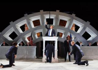 Cast members appear in the Public Theater production of Julius Caesar