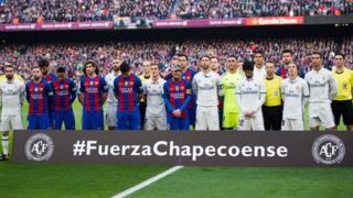 """Футболисты """"Барселоны"""" и """"Реала"""""""