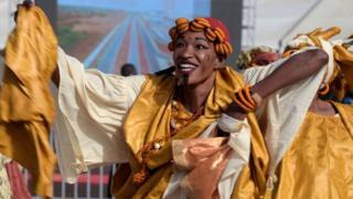 A dancer at Blaise Diagne International Airport in Senegal - Thursday 7 December 2017