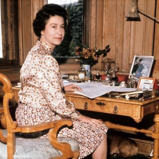 Queen in her study at Balmoral on the year of her silver wedding anniversary.