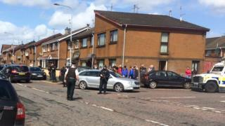Police operation in Meeting House Street, Strabane, after the funeral