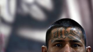 Un miembro de la Mara Salvatrucha con las iniciales de la pandilla tatuadas en la frente