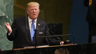 US President Donald Trump at the UN General Assembly in New York, 19 September