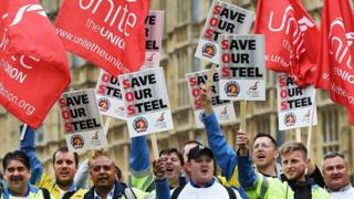 Steel workers protest in London, Britain, 25 May 2016.