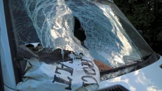 Rock salt bag on smashed van window