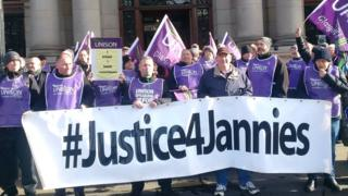 Janitors outside Glasgow City Chambers