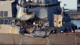 The USS Fitzgerald, damaged by colliding with a Philippine-flagged merchant vessel, on 17 June 2017.