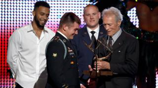 Anthony Sadler, Alek Skarlatos, and Spencer Stone with Clint Eastwood