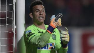 Brazil's Chapecoense goalkeeper Danilo gesturing during the Copa Sudamericana semifinal first leg football match, against Argentina's San Lorenzo on 2 November