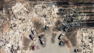 Remains of houses destroyed by fire in Santa Rosa