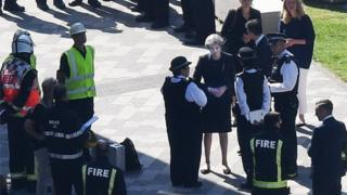 "Image copyright EPA Commons Leader Andrea Leadsom has defended the PM from criticism that she did not meet survivors of the Grenfell Tower fire when she visited the scene.Mrs Leadsom, who visited the area on Friday, told Sky News Theresa May was ""heartbroken"" by the tragedy and was co-ordinating the government response.Former minister Michael Portillo said Mrs May, who met fire fighters but not residents, ""didn't use her humanity"".The government has said it will do ""whatever it takes"" to make flats safe.Seventeen people are known to have died in the fire that destroyed a large block of flats in west London but that figure is set to rise, with fears the death toll could exceed 60. Laura Kuenssberg: Fragile government facing huge challenge Tower victims 'may never be identified' Live updates: Recovery continues after tower blaze The Queen and Prince William visited a centre helping those affected by the fire on Friday morning, near the scene of the disaster.Labour Ma.."