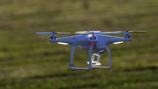 DJI drone in flight