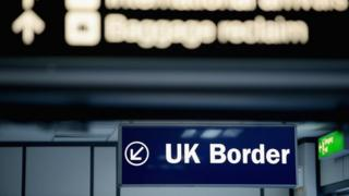 UK border control sign at Edinburgh Airport