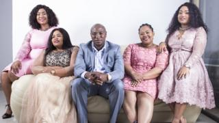 Musa Mseleku and his four wives on a South African reality TV show