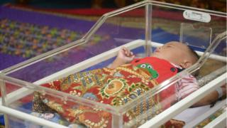 Picture of a baby in the Pekanbaru nursery