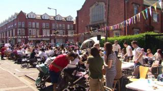 The street party was held in the Holyland area of Belfast on Sunday