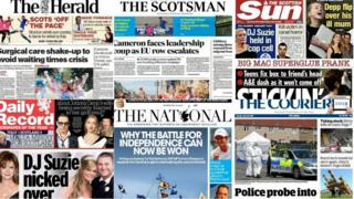 Scottish newspaper front pages