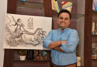 Author Amish Tripathi with a drawing of goddess Sita