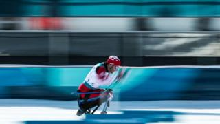 Sebastien Fortier of Canada competes in the Men's Cross Country 15km Sitting event