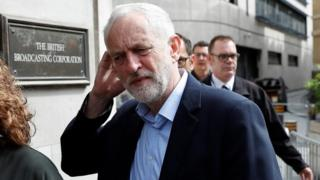 Jeremy Corbyn arriving at the BBC