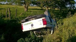 Fugitives' overturned pickup truck (9 January)