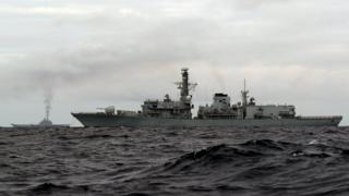 The Russian naval flotilla as seen from HMS Richmond in the Norwegian Sea, 18 October 2016