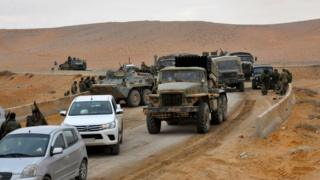 قوافل الجيش السوري في تدمر