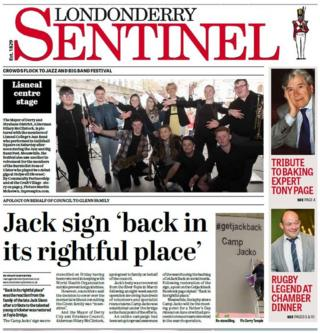 Front page of the Londonderry Sentinel