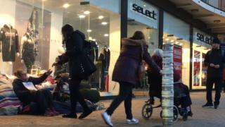 A homeless woman in Bristol's Broadmead shopping centre received a notice giving her 24 hours to move