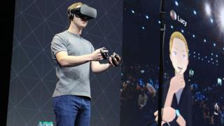 Mark Zuckerberg wears Oculus VR headset