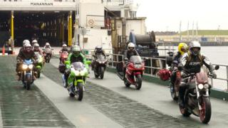 TT fans arriving on the Manx ferry