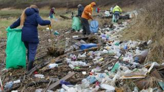 Volunteers picked up piles of rubbish and plastic