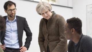 Theresa May on school visit