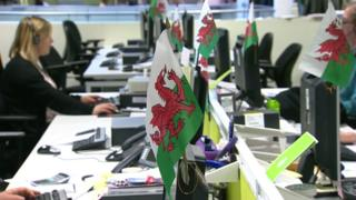Welsh flags in office