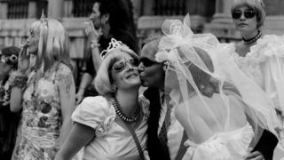 Women at the Gay Pride Mardi Gras parade in London, 3rd July 1999