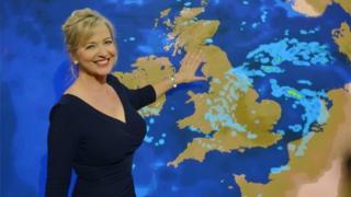 Carol Kirkwood presenting a weather forecast
