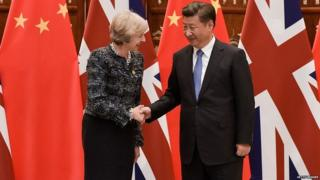 Theresa May meeting Chinese President Xi Jinping in 2016
