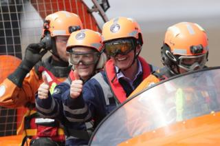 Liberal Democrat leader Tim Farron and the party's local candidate Tessa Munt on board a hovercraft during a visit to the Burnham Area Rescue Boat (BARB), a charity that operates two life-saving rescue hovercrafts and an inshore rescue boat, at Burnham-on-Sea in Somerset.