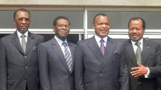 (De G à Dr) Les présidents Déby, Obiang Nguema Mbasogo, Sassou N'guesso et Biy