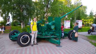 Gun installation in Arkhangelsk, Russia